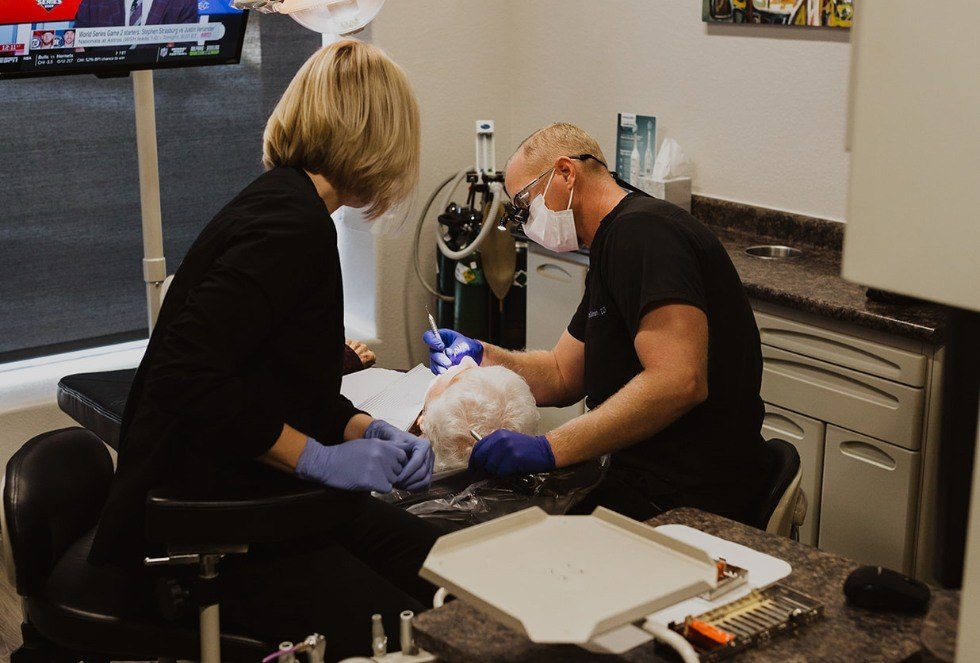 Doctor Spillman treating dental patient